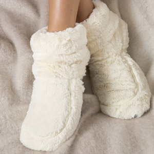 Warmies Cozy Plush Body Boots Cream
