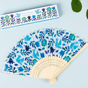 Folk Doves Bamboo Fan