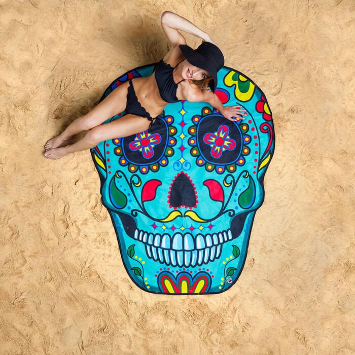 Gigantic Sugar Skull Beach Blanket