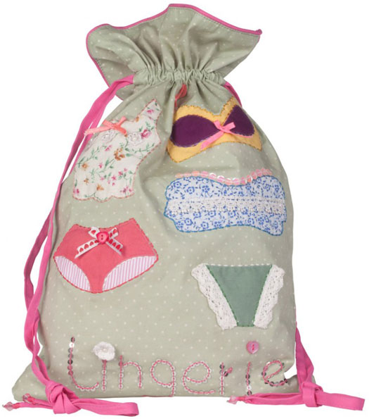 Button Girl Embroidered Lingerie Bag