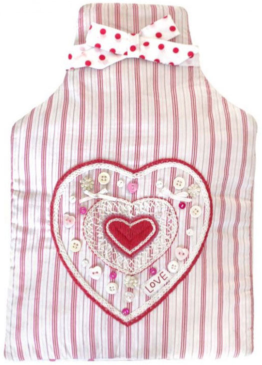 Love Heart Embroidered Hot Water Bottle Cover