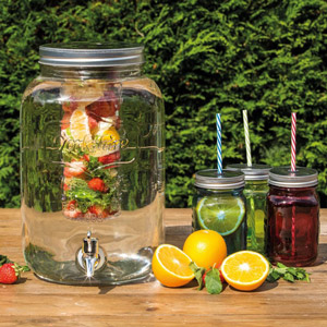 Glass Drinks Dispenser Jar with Water Infuser