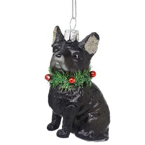 Festive French Bulldog Shaped Bauble