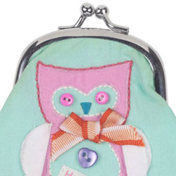 Button Girl Owl Embroidered Coin Purse