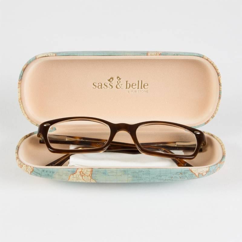 Vintage Map Glasses Case