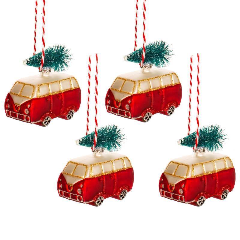 Mini Campervan Shaped Bauble - Set