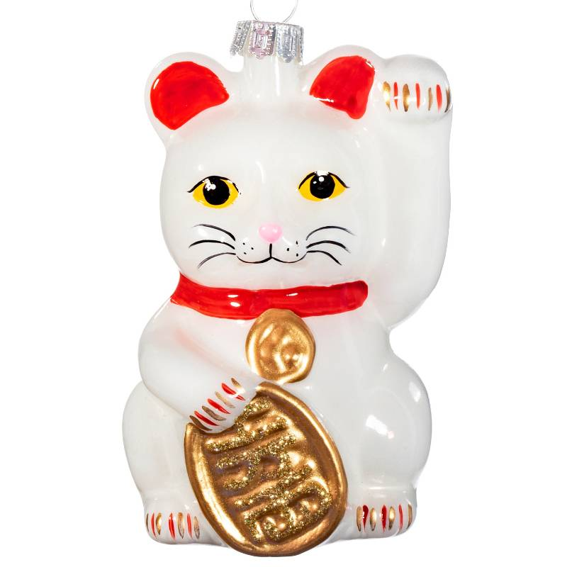 White Lucky Cat Shaped Bauble