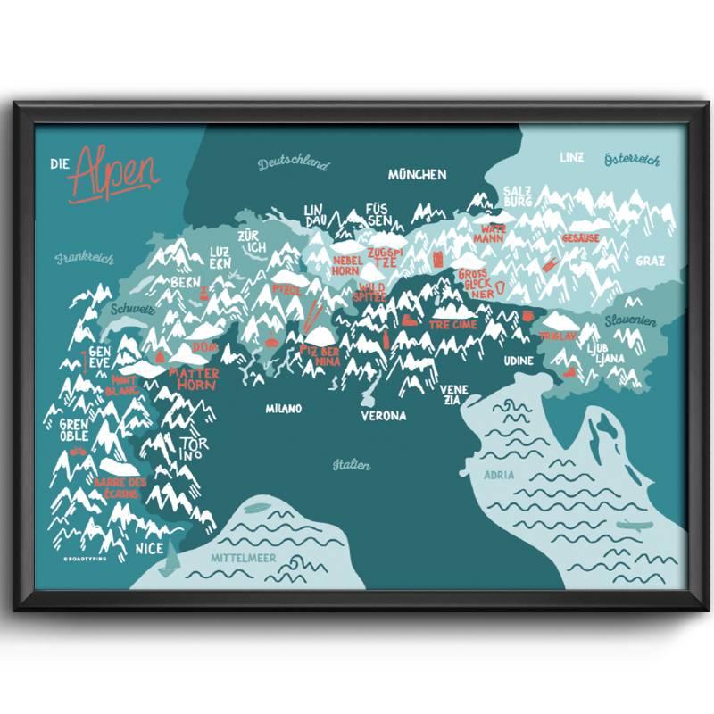 Art Print Alps Map