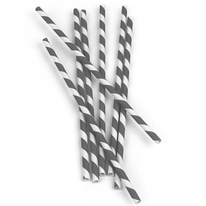 Biologisch abbaubare Papier-Trinkhalme grau-weiss