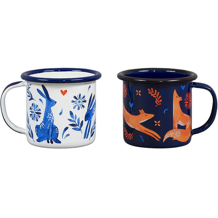 Duo Tasses à Espresso Lièvre et Renard