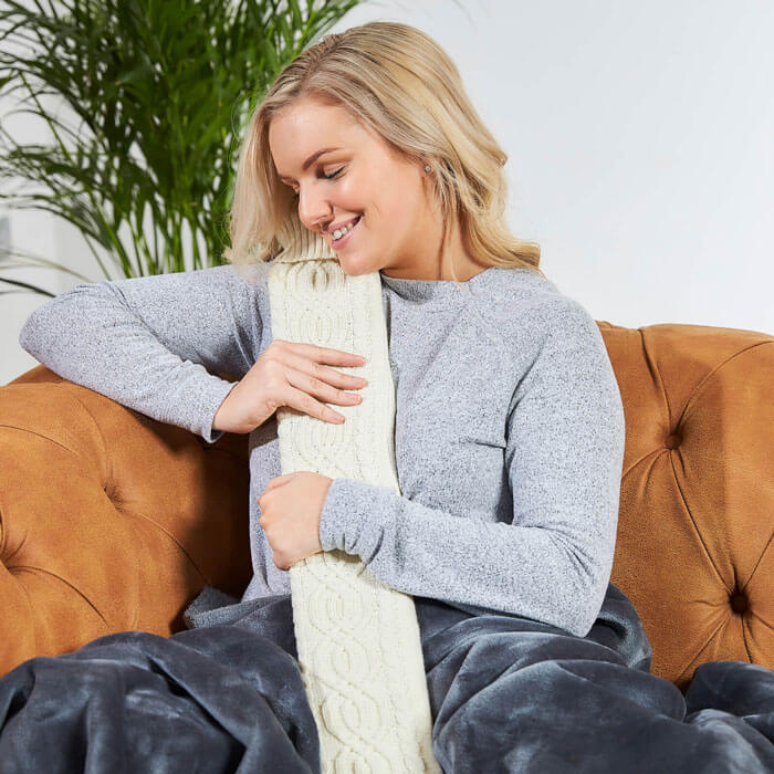 Warmies Extra Long Hot Water Bottle - Cream Knit
