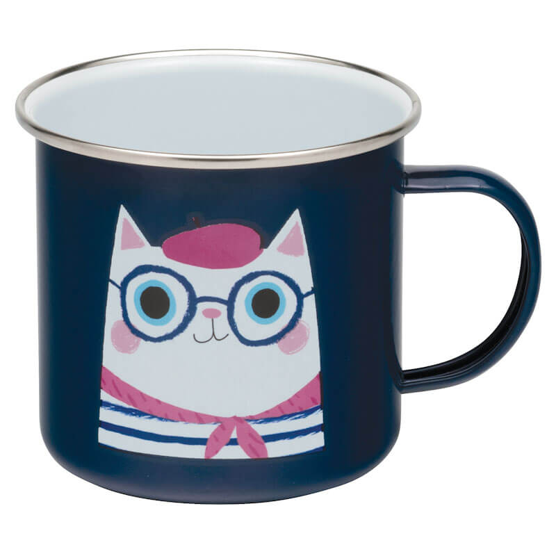 French Cat Enamel Mug