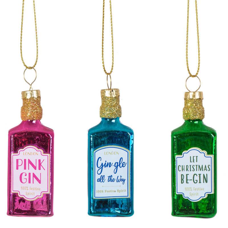 Mini Gin Bottles Bauble Set