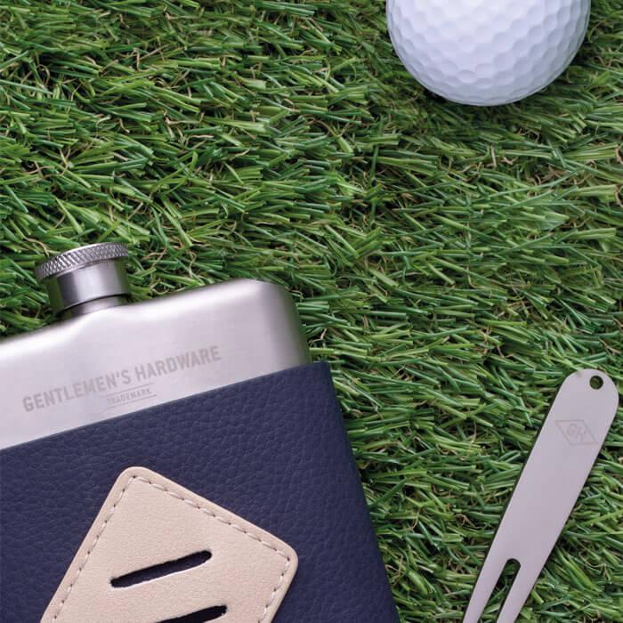 Golfer's Hip Flask & Divot Tool Set