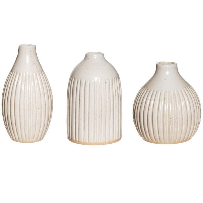 Grooved Bud Vases Set
