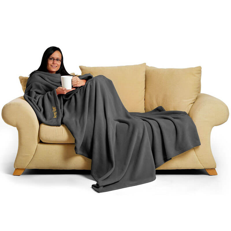 Grey Blanket With Sleeves