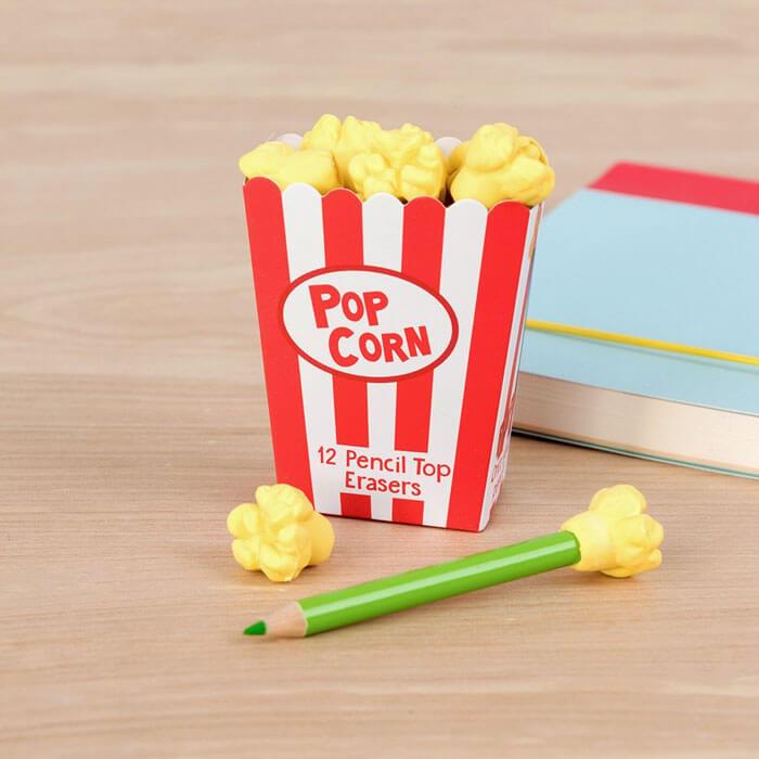 Popcorn Pencil Top Erasers