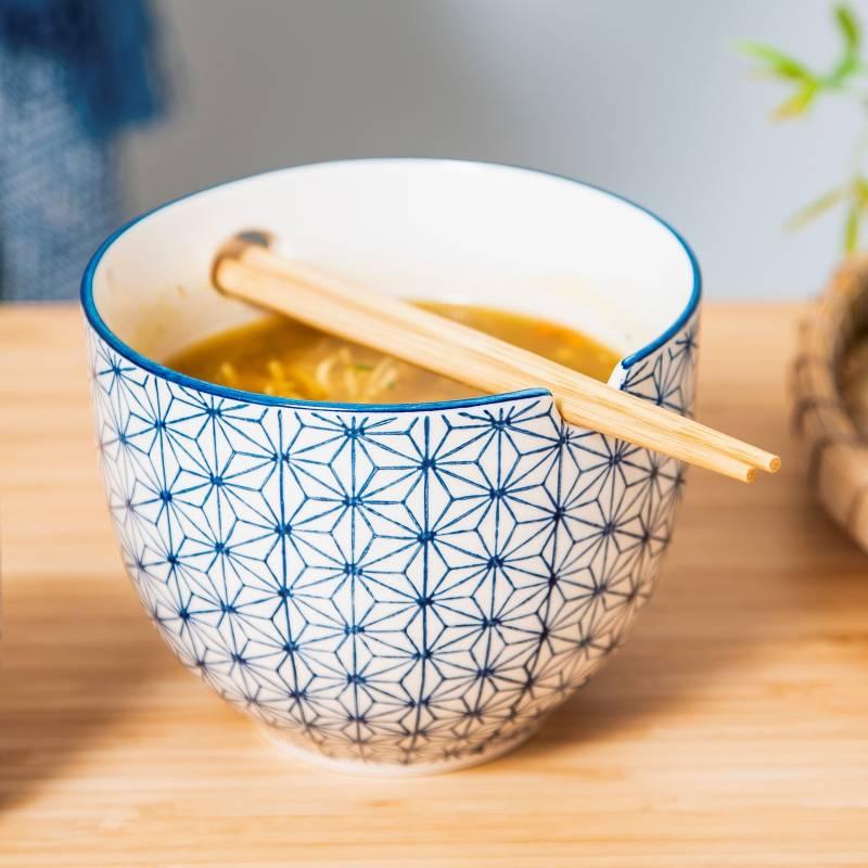 Sashiko Noodle Bowl with Chopsticks Bowl with Chopsticks