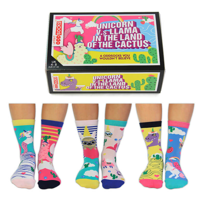 Unicorn Vs Llama In The Land Of the Cactus Sock Set