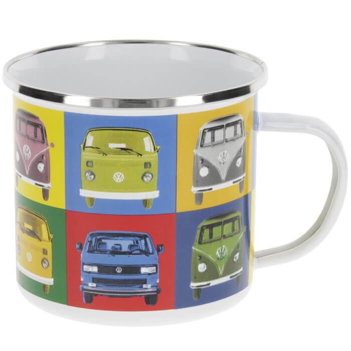 Multicolor VW T1 Emailletasse