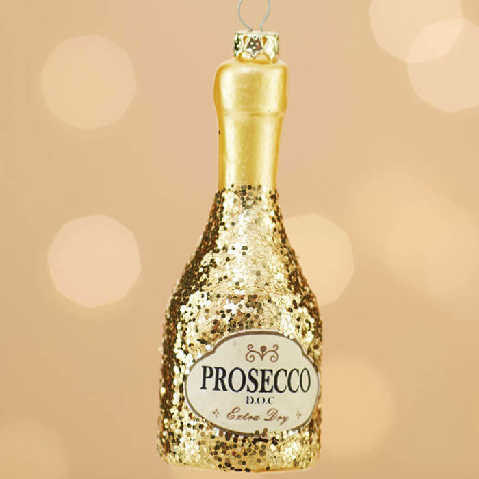 Glitter Prosecco Bottle Bauble