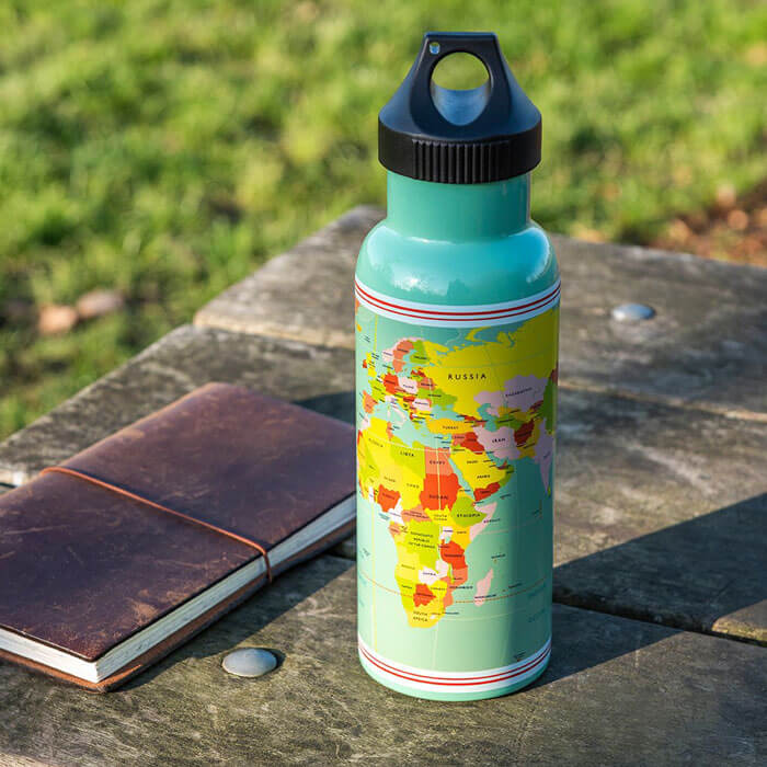 World Map Water Bottle