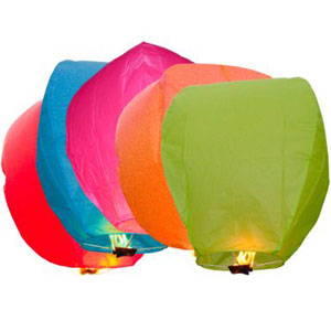 Sky Lantern Mixed Colors Set of 5