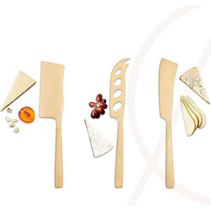3-Piece Set of Brass Coloured Cheese Knives