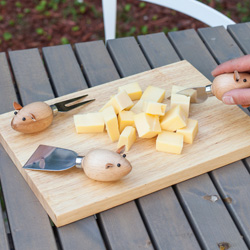Cheese Board And 3 Mouse Knives