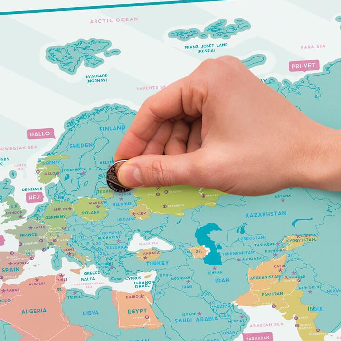 Carte du Monde à Gratter Hello