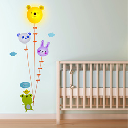 Animal Height Chart Light Wall Sticker