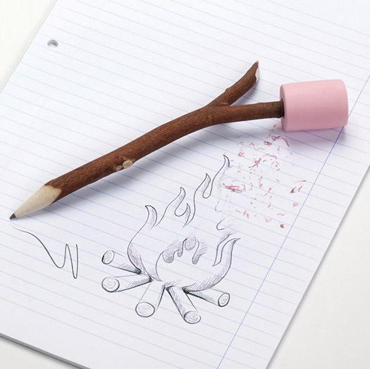 Marshmallow Pencil & Eraser