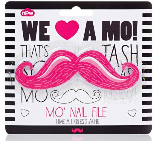 Pink Moustache Nail File