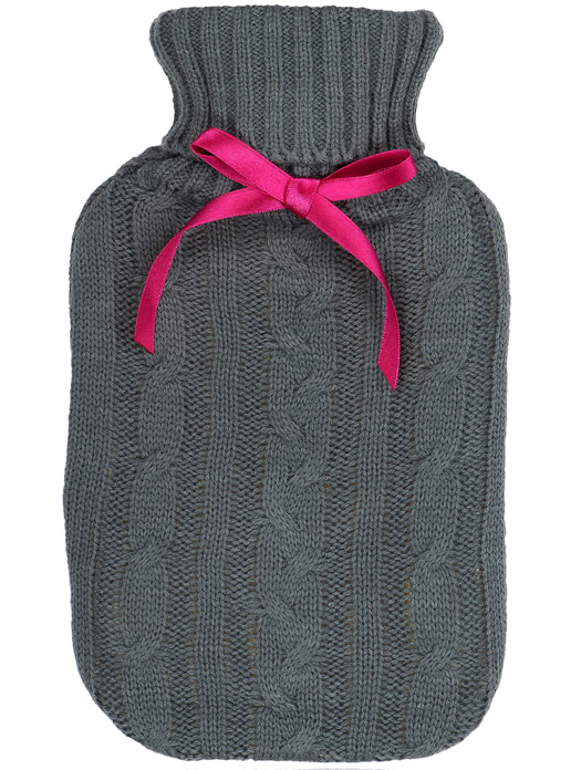Hot Water Bottle - Grey Cable Knit