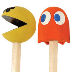 Pac Man Pencil Toppers and Erasers