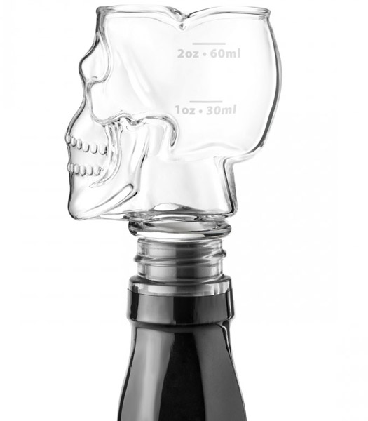Skull Glass Jigger Bottle Stopper