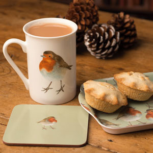 Robin Mug, Coaster & Tray Gift Set