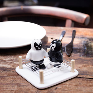 Luchador Salt vs Pepper Shakers