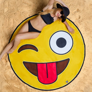 Gigantic Crazy Emoji Beach Blanket