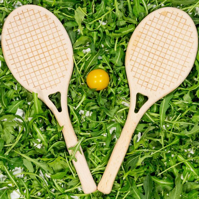 Salatbesteck Tennisschläger