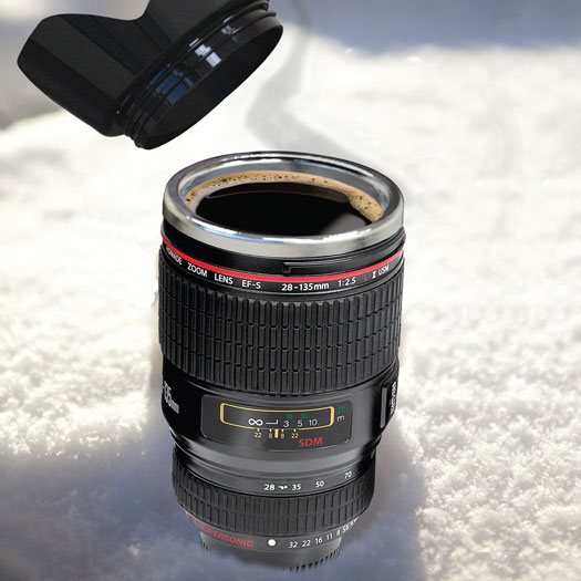 Thermo Tasse Kameraobjektiv