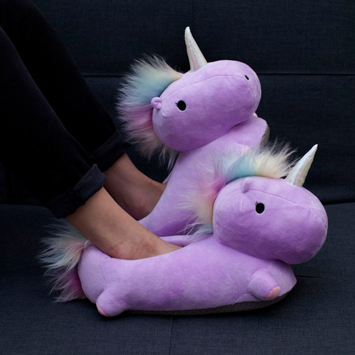 Unicorn USB Heated Slippers Purple