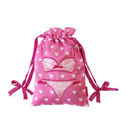 Lingerie Bag Pink with White Hearts