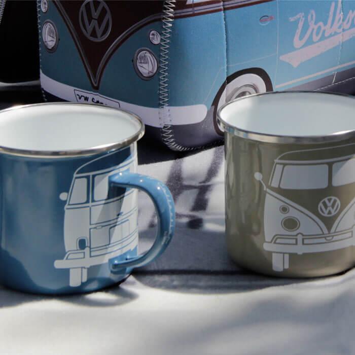 VW Camper Van Enamel Mug Set