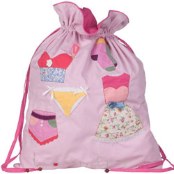 Button Girl Embroidered Laundry Bag